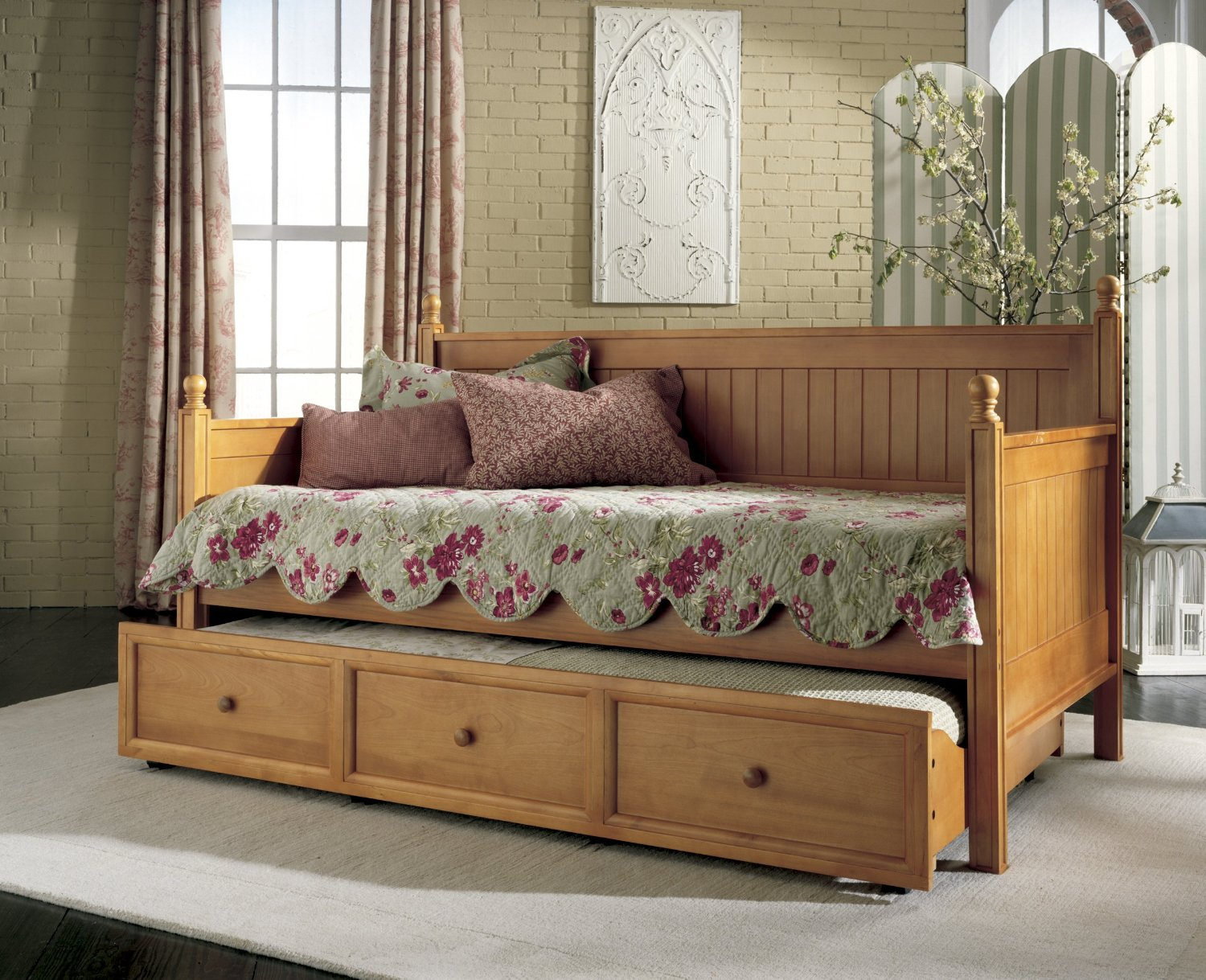 Daybed With Trundle Wooden Base