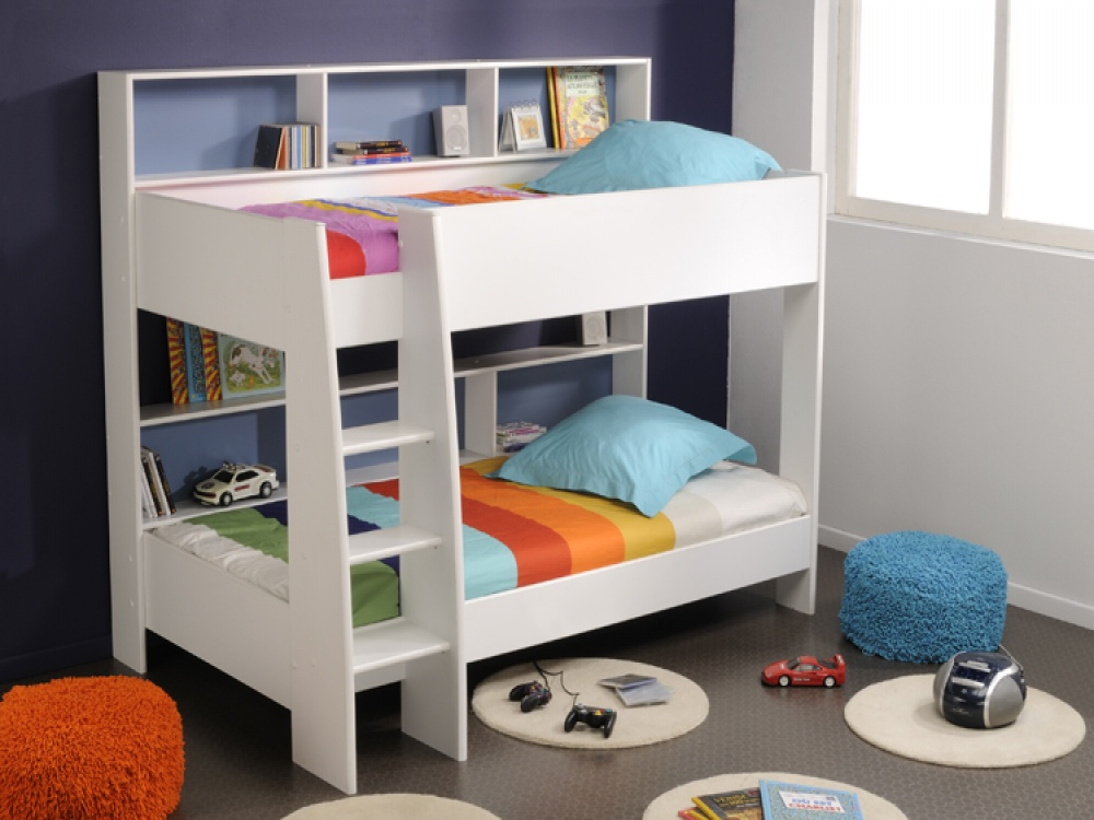 Minimalist Bunk Beds For Kids WIth White Color