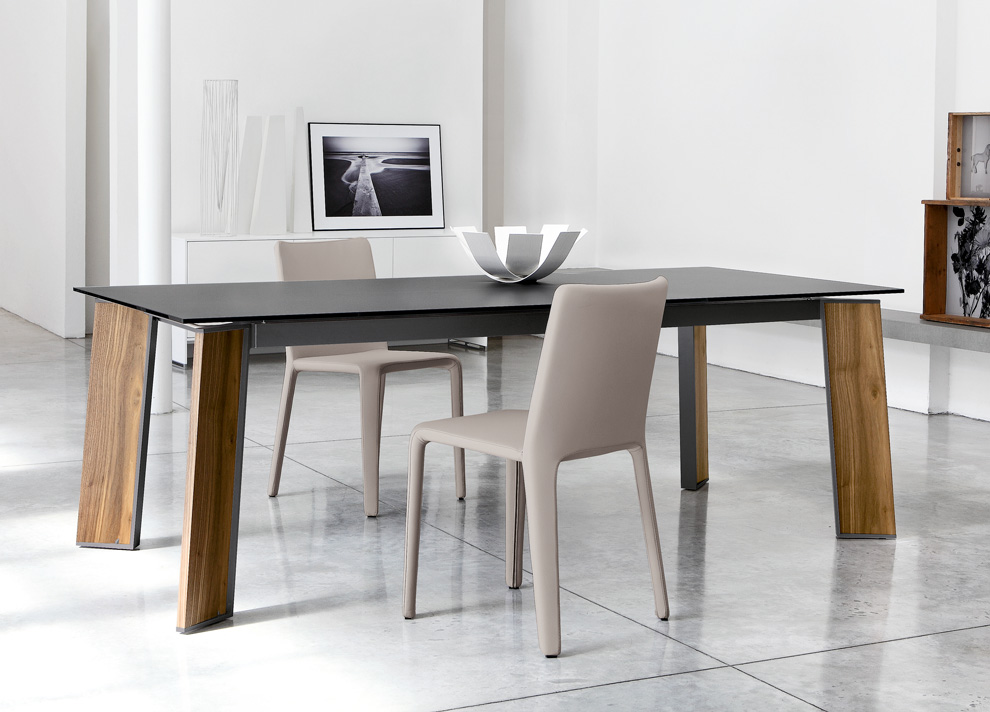 Modern Dining Table With Black Glass Tops