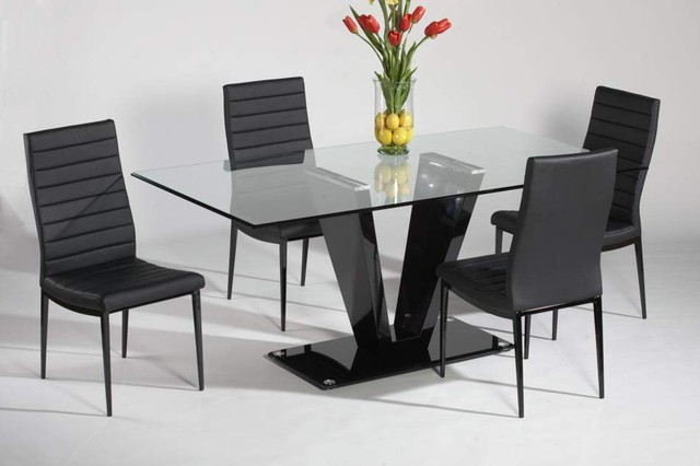 Modern Glass DIning Table COmbine Black Chairs