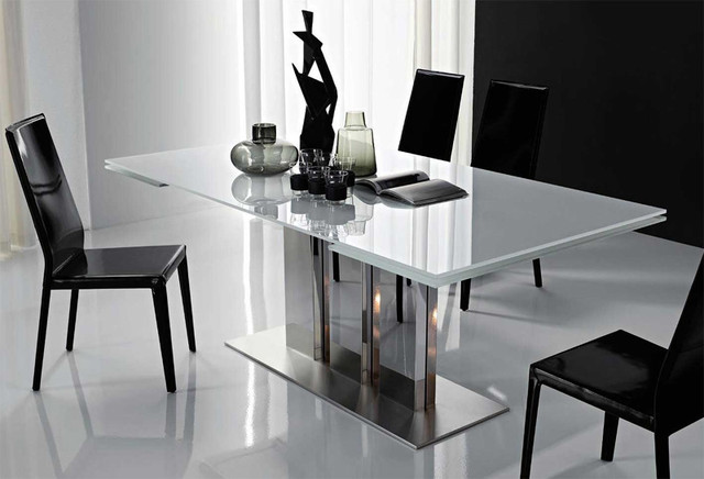 Stainless Steel Modern Dining Table With Glass Tops