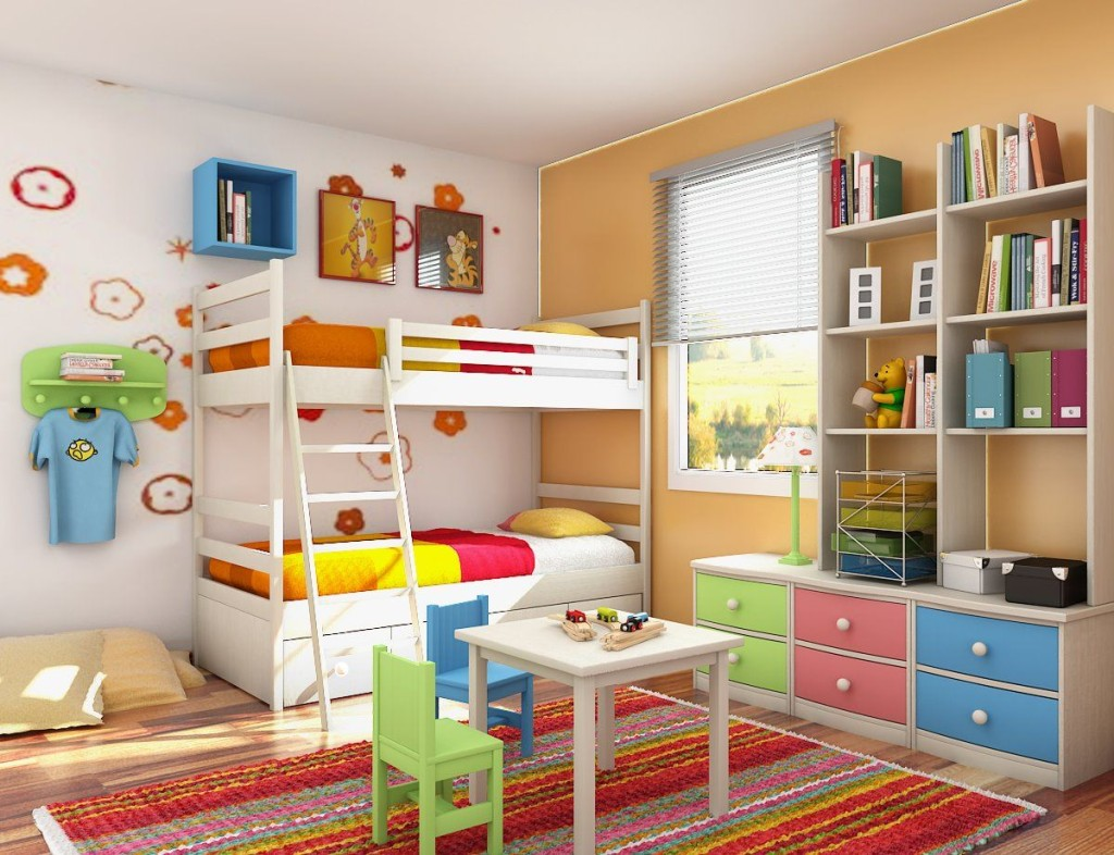 White BUnk Beds For Kids With Colorful Kids Bedroom Decor