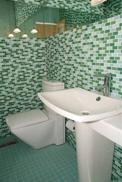 Bathroom Floor glass Tiles Mosaic Green