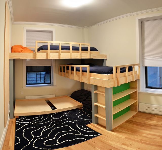 Built in L-shaped Triple Bunk Beds