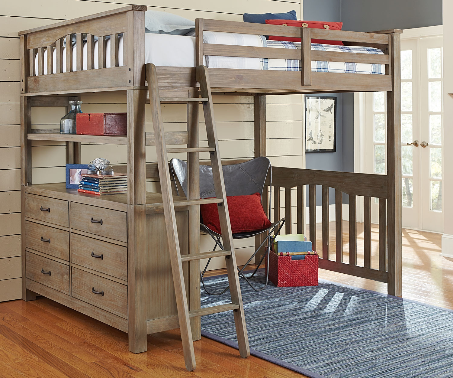 Full Size Loft Bed With Drawers & Desk
