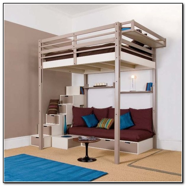 Full Size Loft Bed With Sofa & Chairs