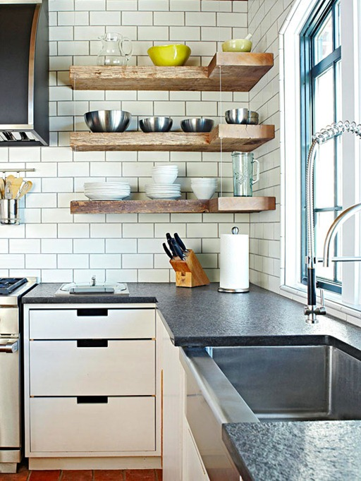Kitchen Floating Shelves In Rustic Styles