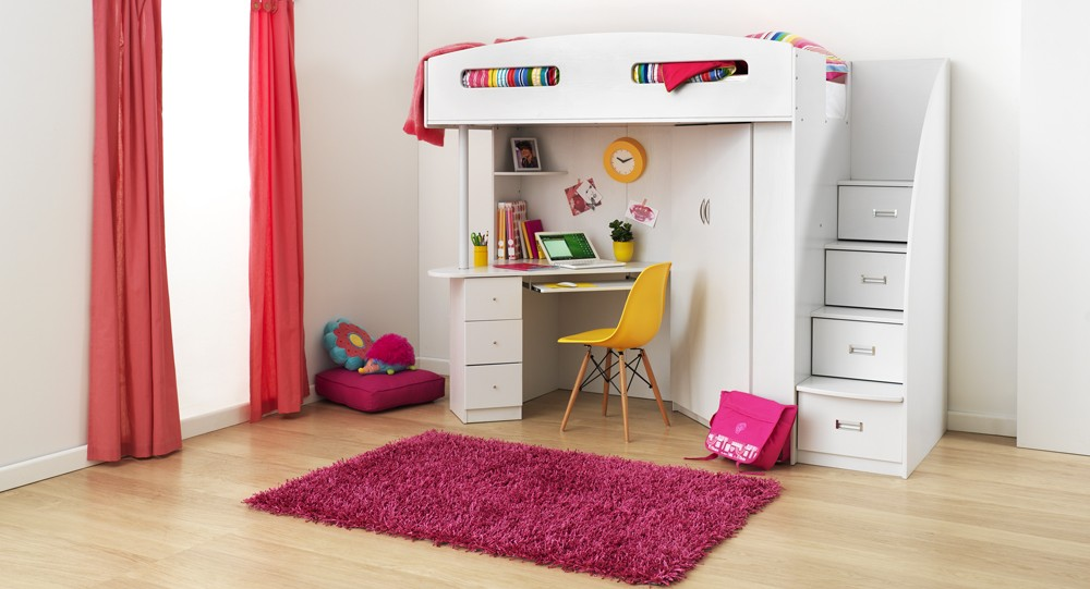 Loft Bed With Desk & Stairs For Kids Bedroom