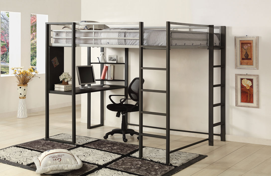 Metal Loft Bed With Desk Underneath