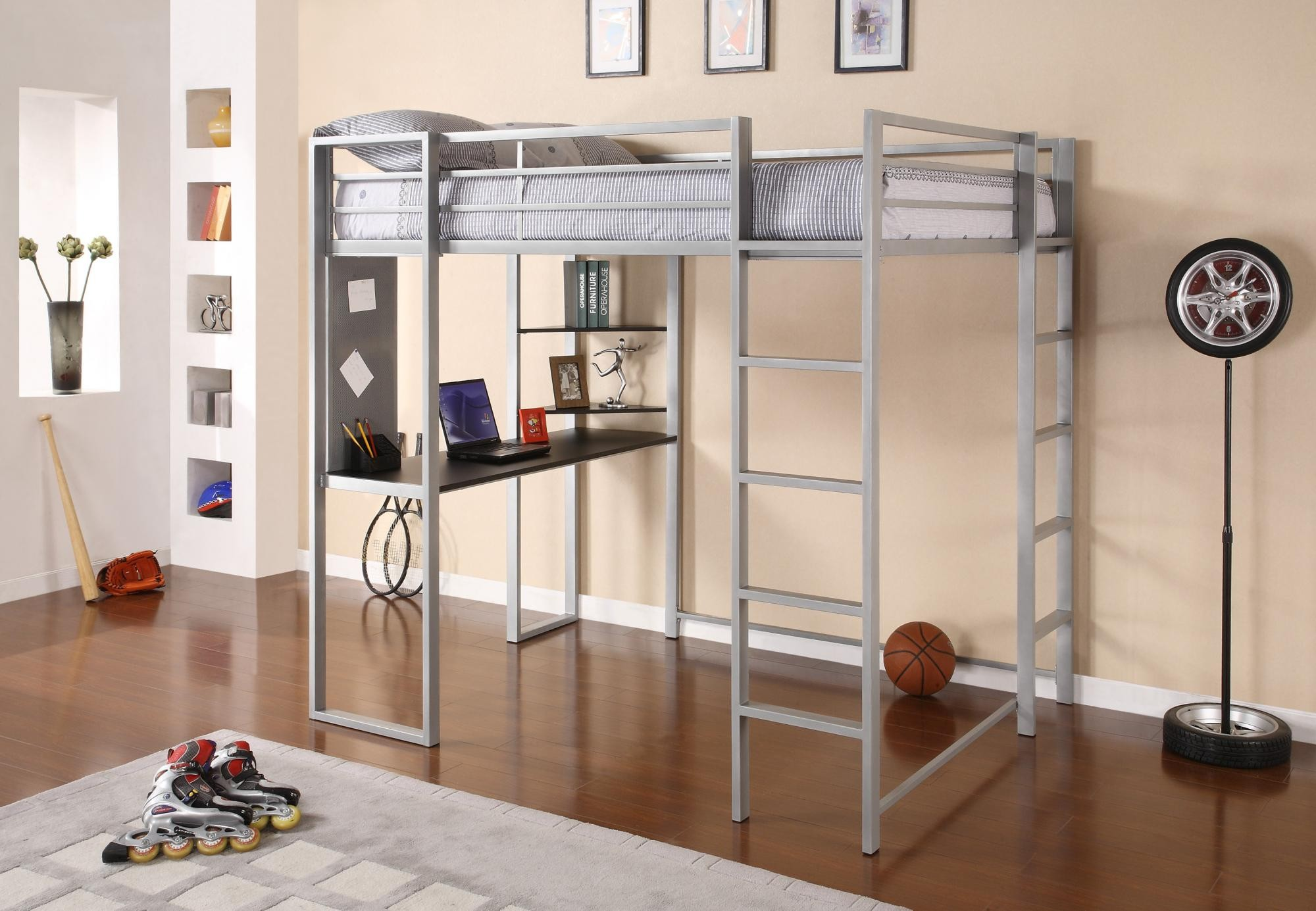 Minimalist Metal Full Size Loft Bed With Desk