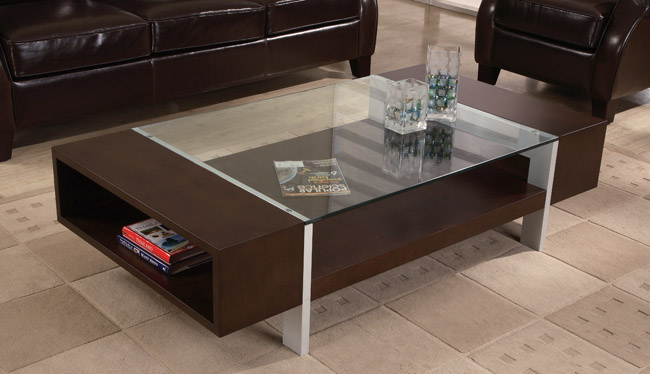 Modern Rectangulra Coffee Table With Glass Tops