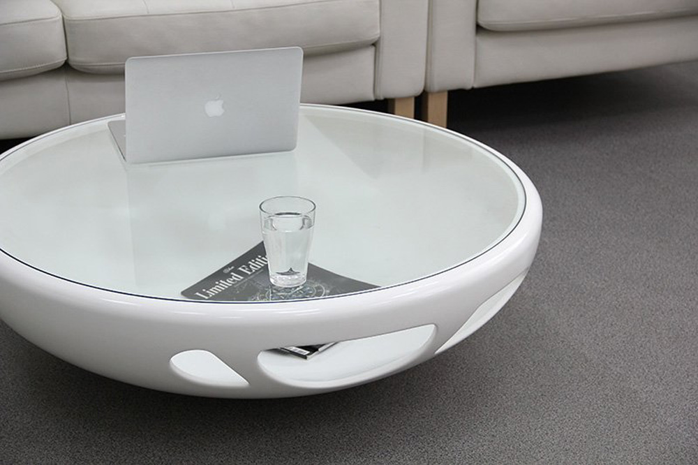 White Modern Round Coffee Table