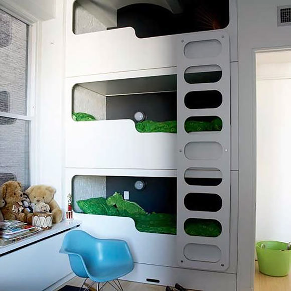 Modern Triple Bunk Bed Built In