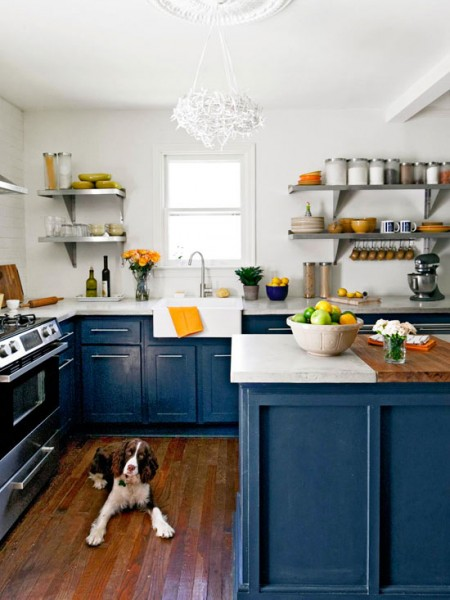 Royal Blue Painted Kitchen Cabinets