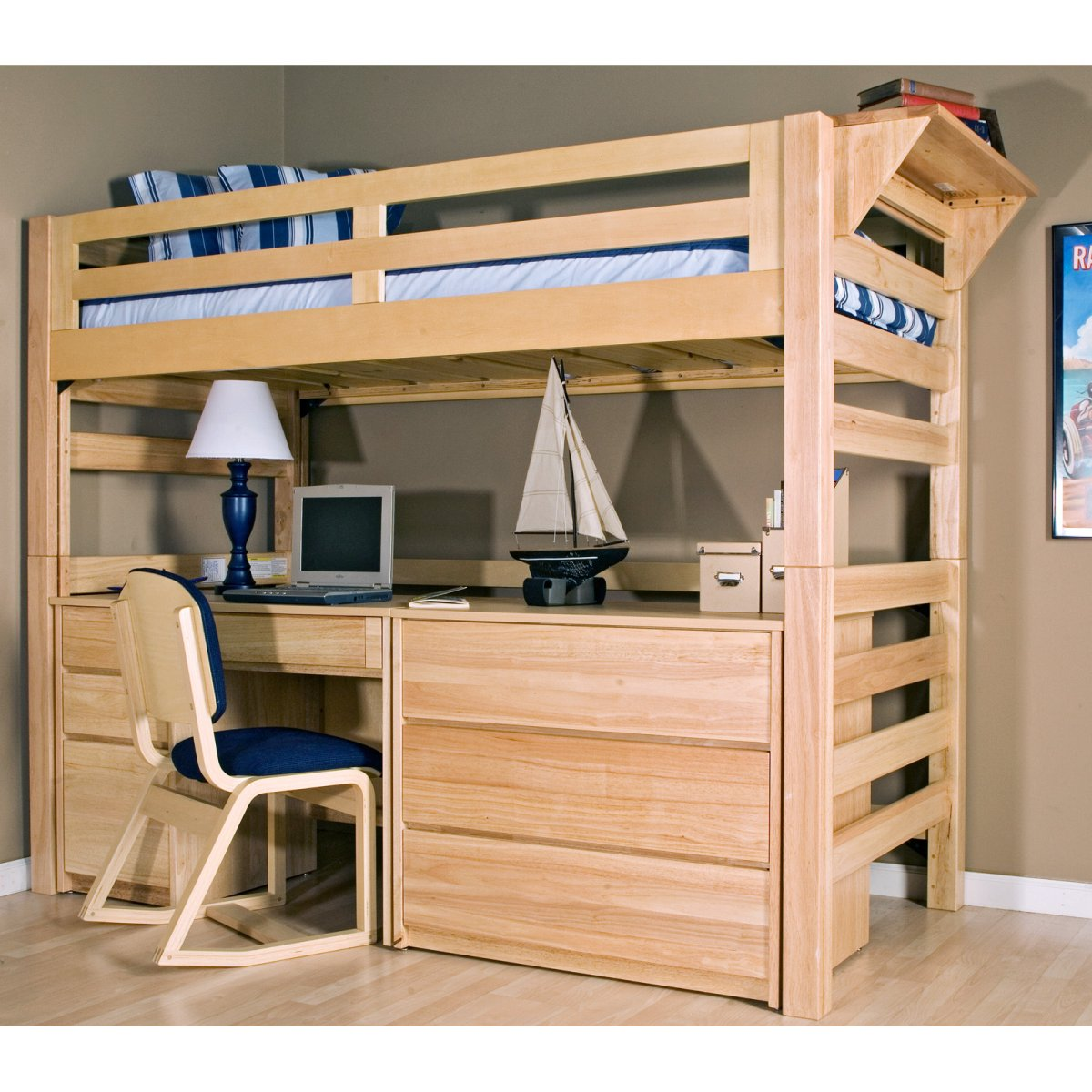 Loft bed with desk designs features inoutinterior for How to make a loft room