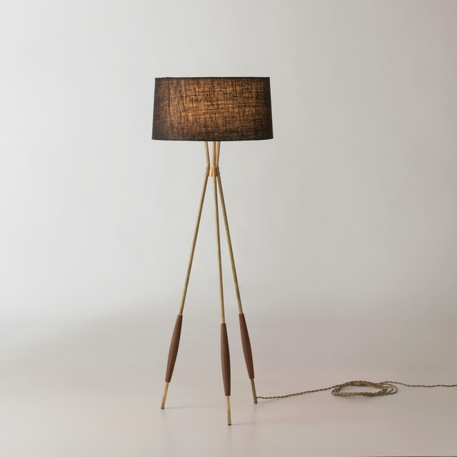 Stylish Tripod FLoor Lamp Wooden Base Modern