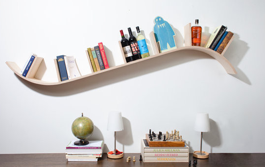 Unique Curved FLoating Bookshelves