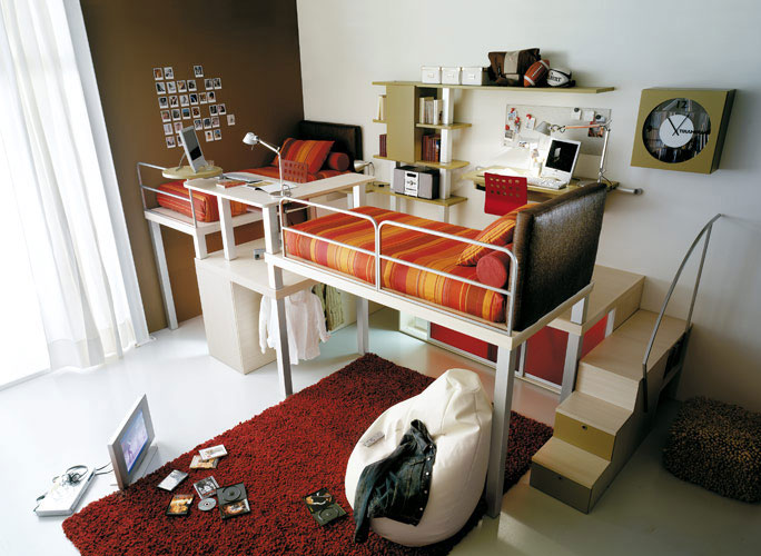 Unique loft beds for adults design ideas inoutinterior for Bunk bed bedroom designs