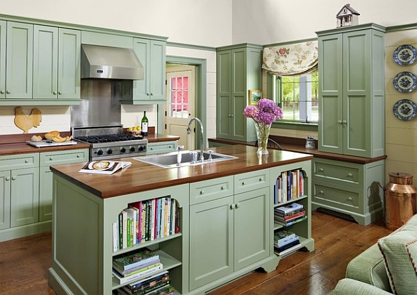 Vintage Painted Kitchen Cabinets Green