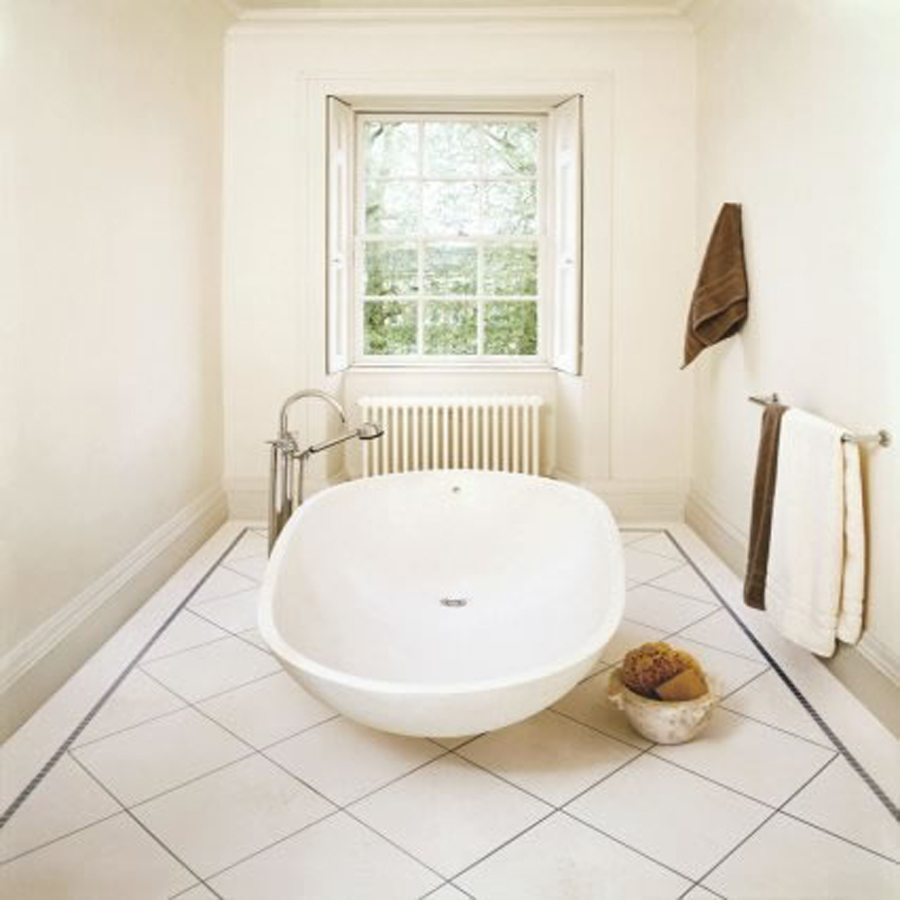 white floor tiles for