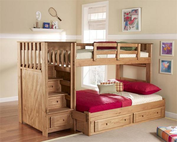 Wooden Full Size Loft Bed With Stairs