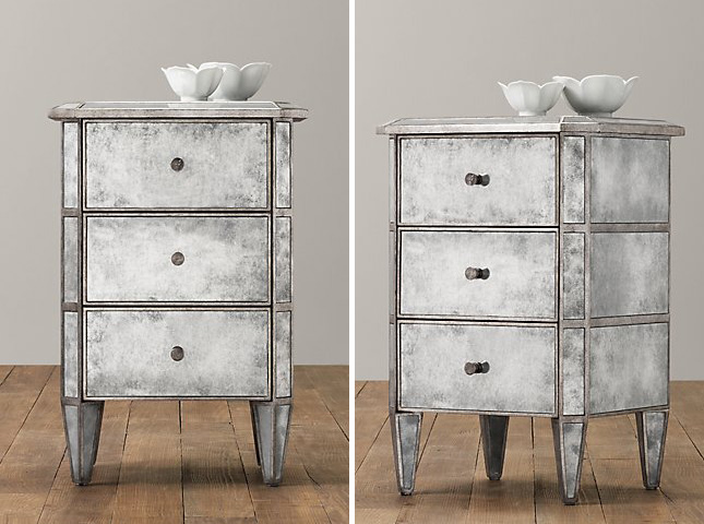 Antiqued Mirrored Bedside Table