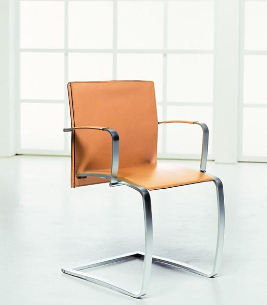 Contemporary Leather DIning Chairs With Metal Arms