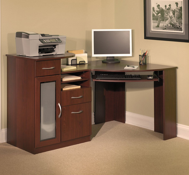 Corner Computer Desk Dark Brown Wooden Base