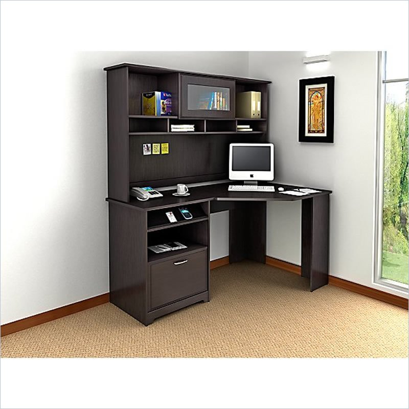 Corner Computer Desk With Hutch In Espresso Oak Wood