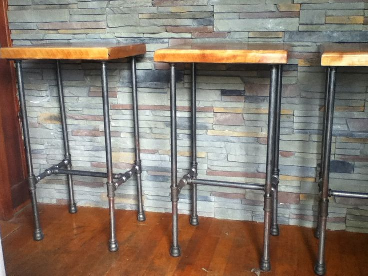 DIY Outdoor Bar Stools With Pipe Legs