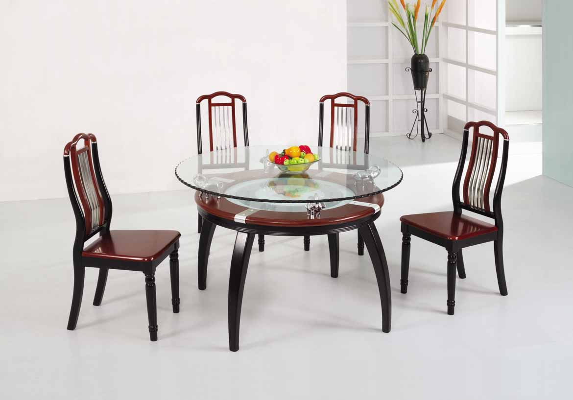 Stylish dining table sets for dining room inoutinterior for Round glass dining table set