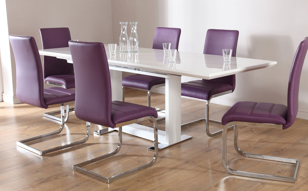 Modern DIning Table Sets WIth Unique Purple Chairs Colors