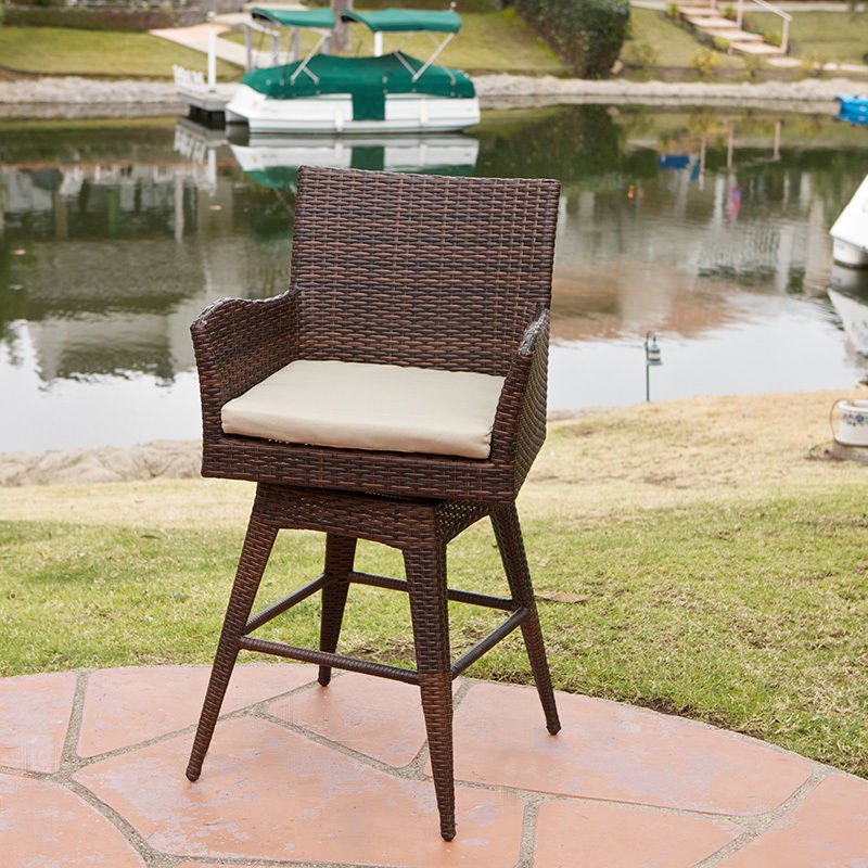 Modern Outdoor Bar Stools Wicker Base