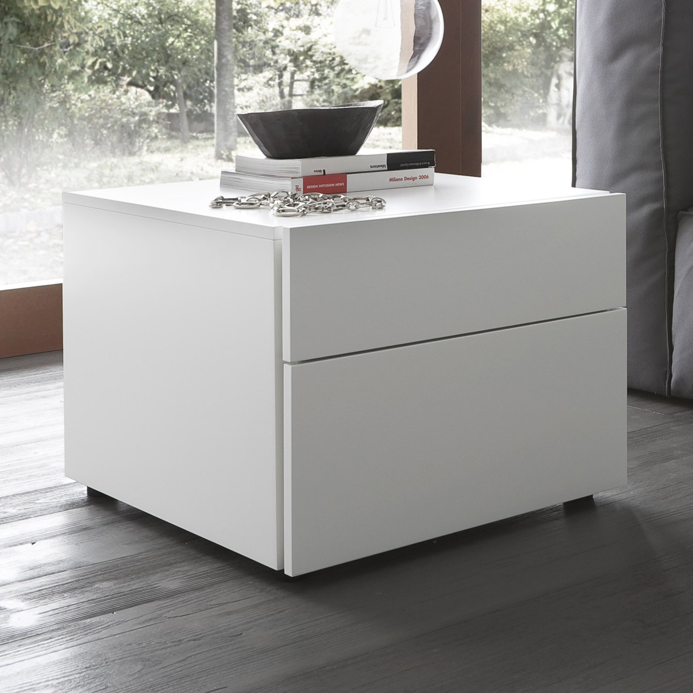 White bedside table inoutinterior modern white bedside table espresso design watchthetrailerfo