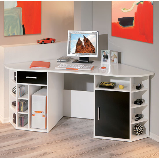 Modern White Corner Computer Desk
