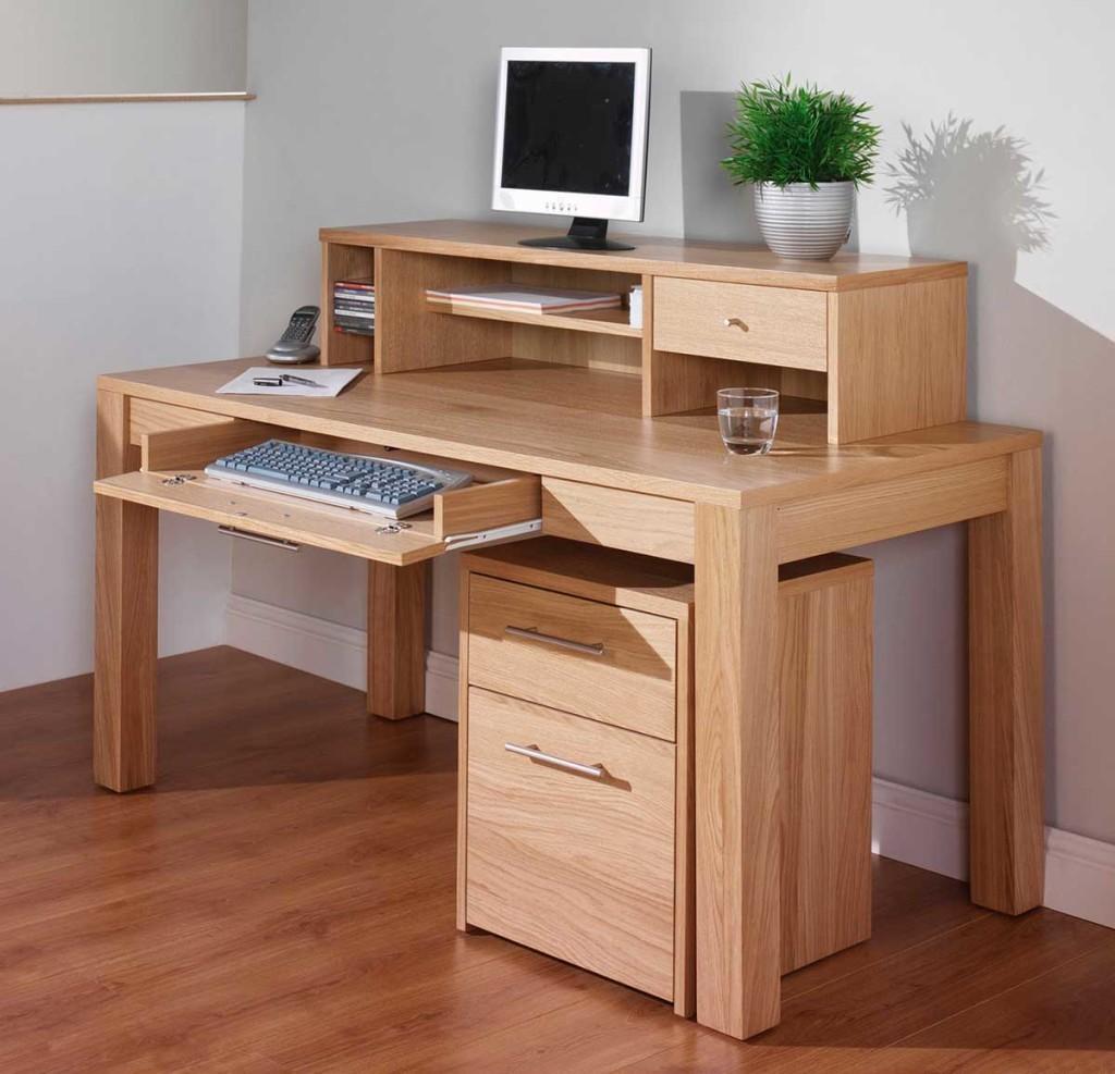 Oak Corner Computer Desk Natural Finish