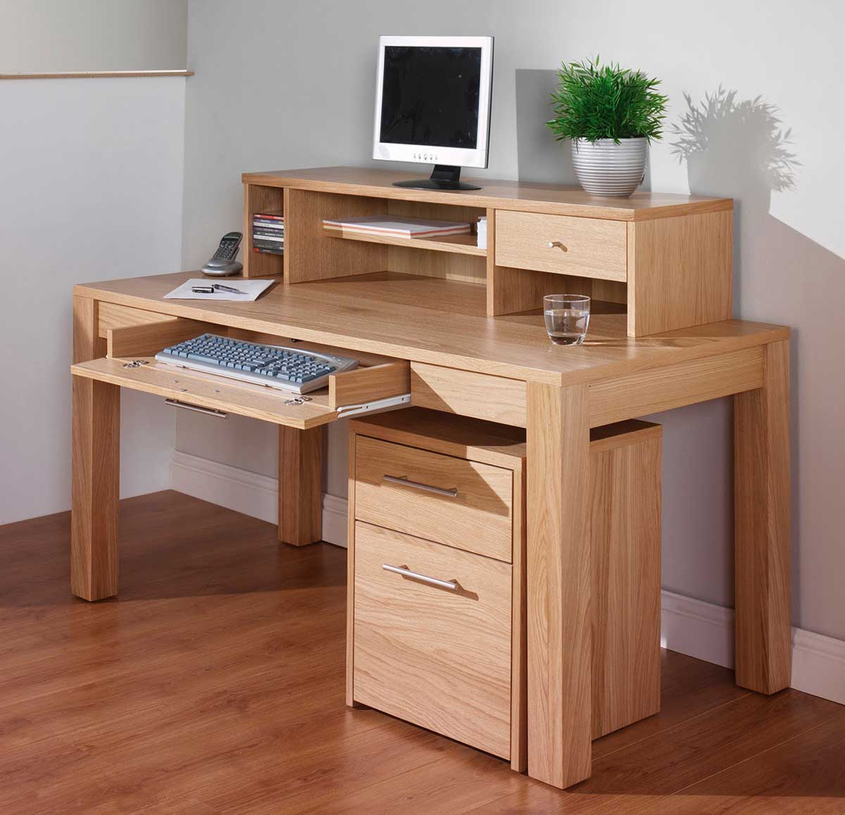 Oak Corner Computer Desk Natural Finish