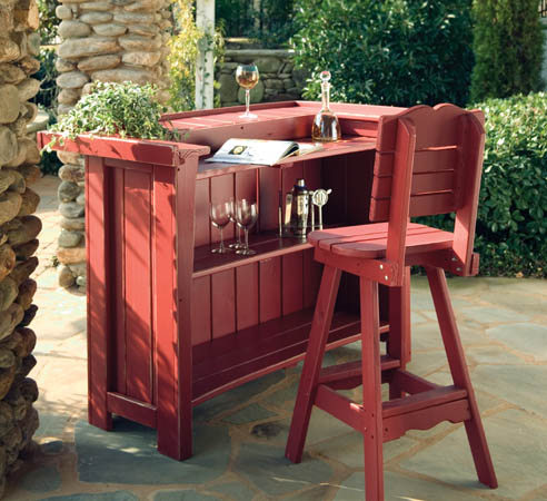 Red Wooden Bar Stools Outdoor