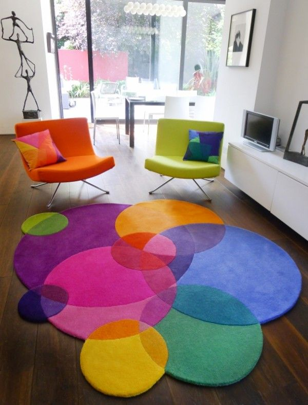 Round Colorful Area Rugs