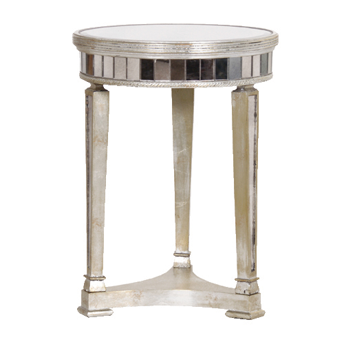 Round Mirrored Bedside Table