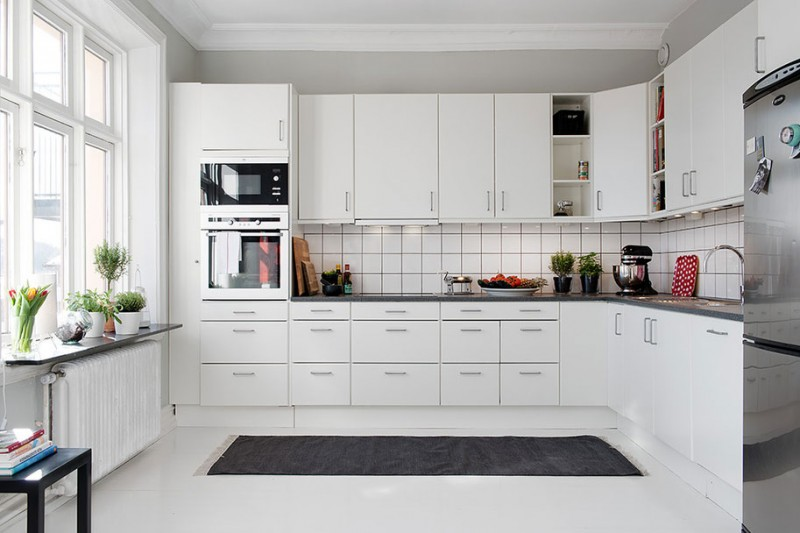 Simple Modern White Kitchen Cabinets