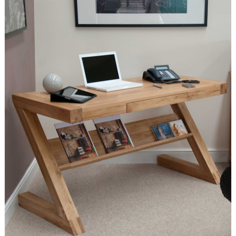 Solid Oak Small Narrow Computer Desk