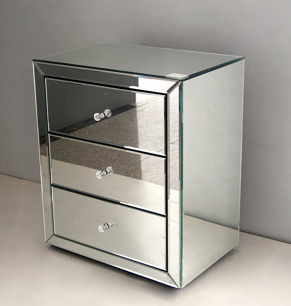 Mirrored Bedside Table