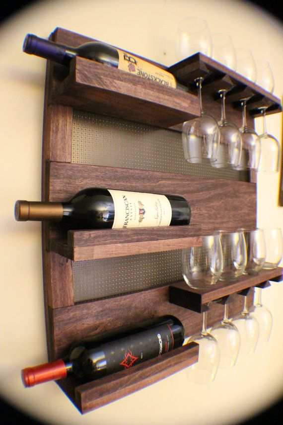 Wall Mounted Wine Racks & Glass Holders Wooden Base