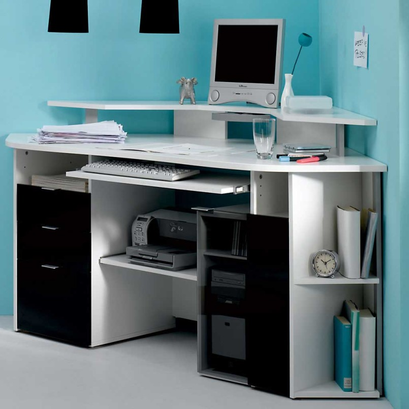 White Corner Computer Desk With Pronteris Cabinets
