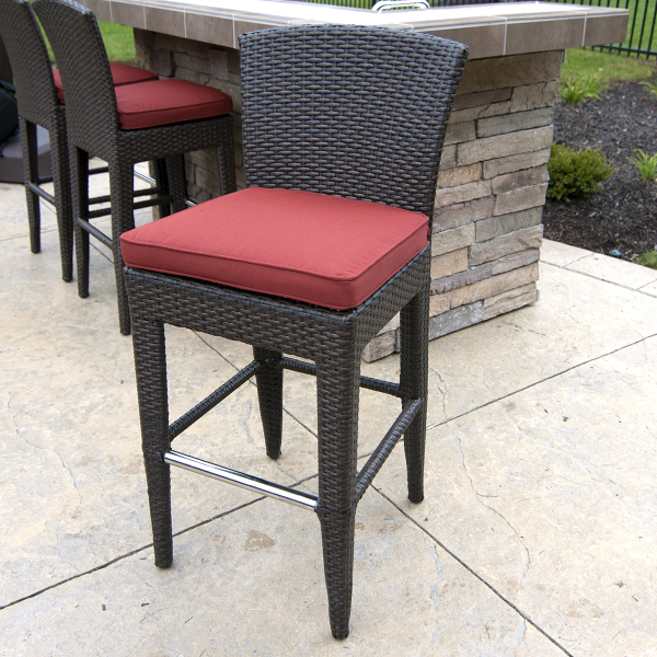 Wicker Outdoor Bar Stools With Red Cushion