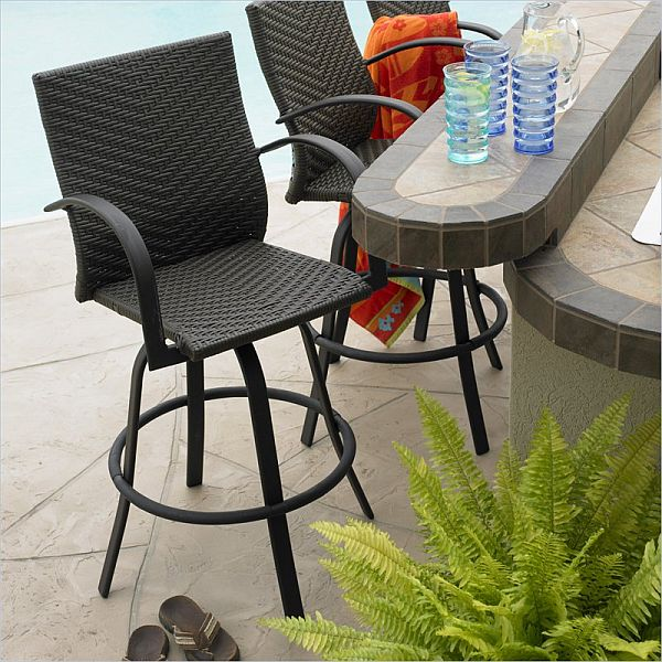 Wicker Outdoor Bar stools Swivel