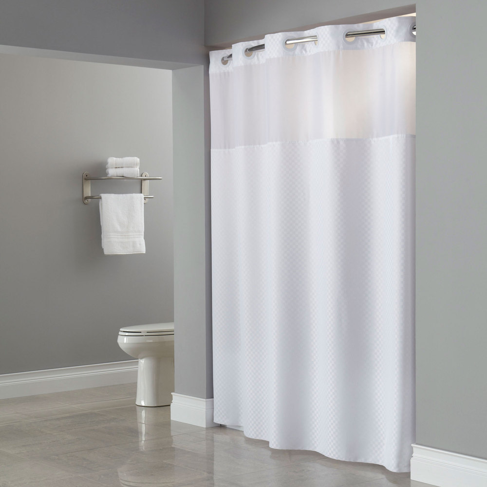 white hookless shower curtain with window