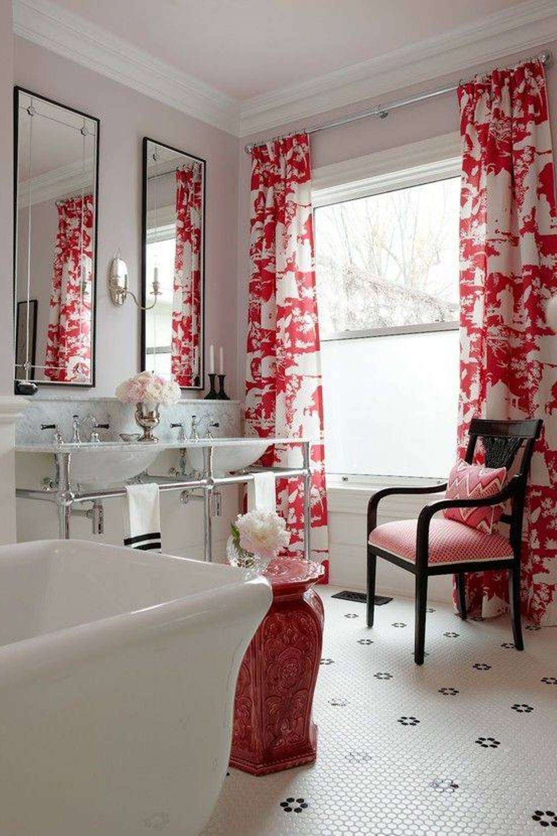 bathroom window curtains - Red Bathroom 2015