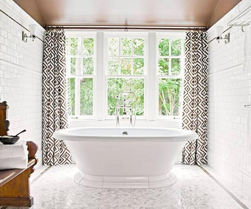 10 modern bathroom window curtains ideas inoutinterior Bathroom designs with window in shower